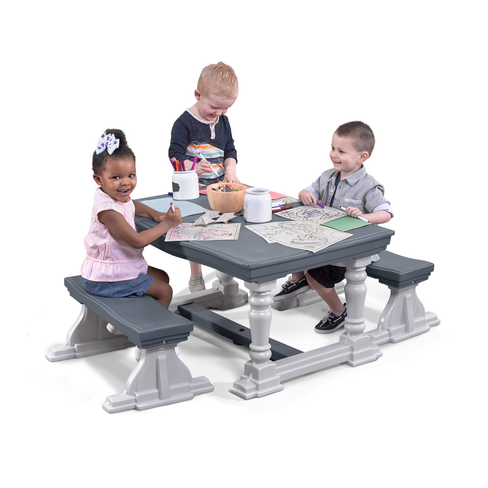 3 Piece Farmhouse Table Bench Set Kids Table Chairs Step2
