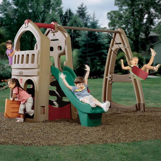 step2 Outdoor Playtime Bundle-Playhouse Climber & Swing Extension