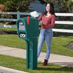 Step2 MailMasterPlus Mailbox Walnut, woman getting mail