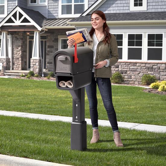 Step2 MailMaster Express Plus Mailbox - Black front yard