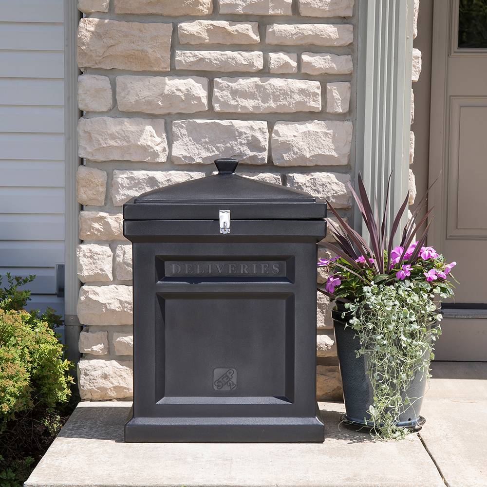 Step2 Deluxe Package Delivery Box - Elegant Black on porch