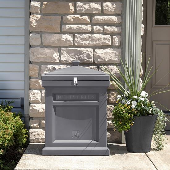 Step2 Deluxe Package Delivery Box - Manor Gray on porch