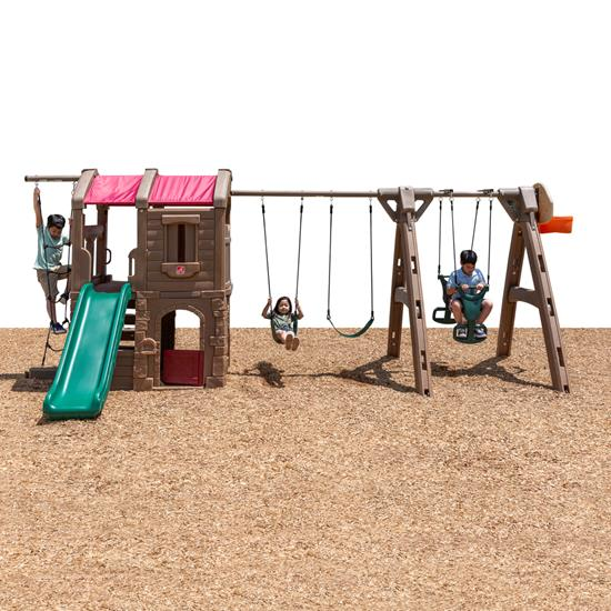 step naturally playful adventure lodge play center with glider