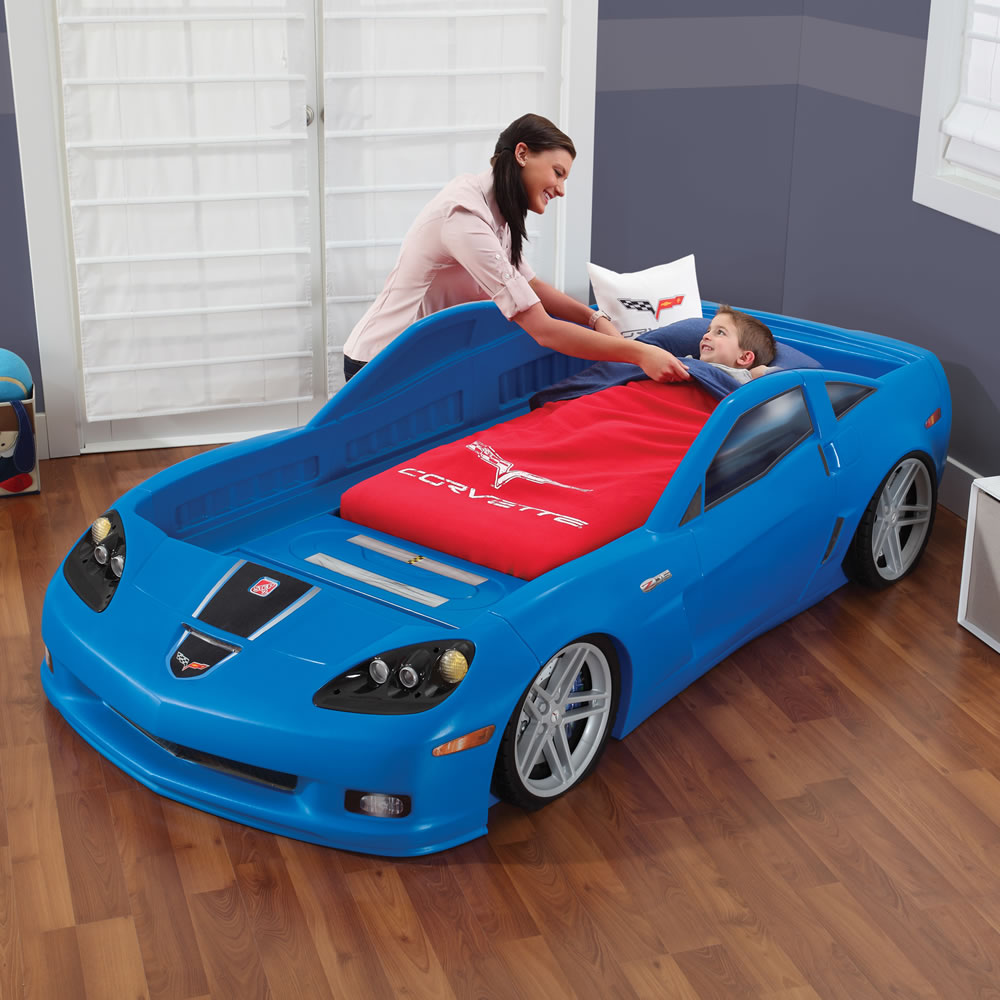 corvette toddler to twin bed with lights blue kids
