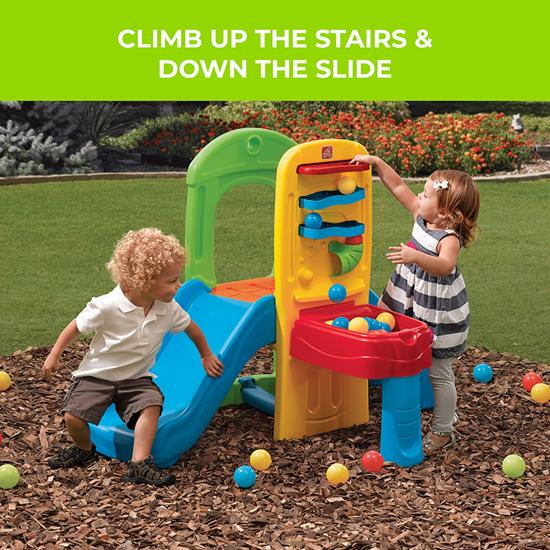 Kids playing with compact colorful climber