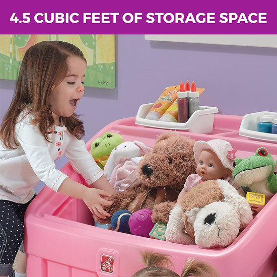 Step2 2-in-1 Toy Box & Art Lid Pink removable art lid