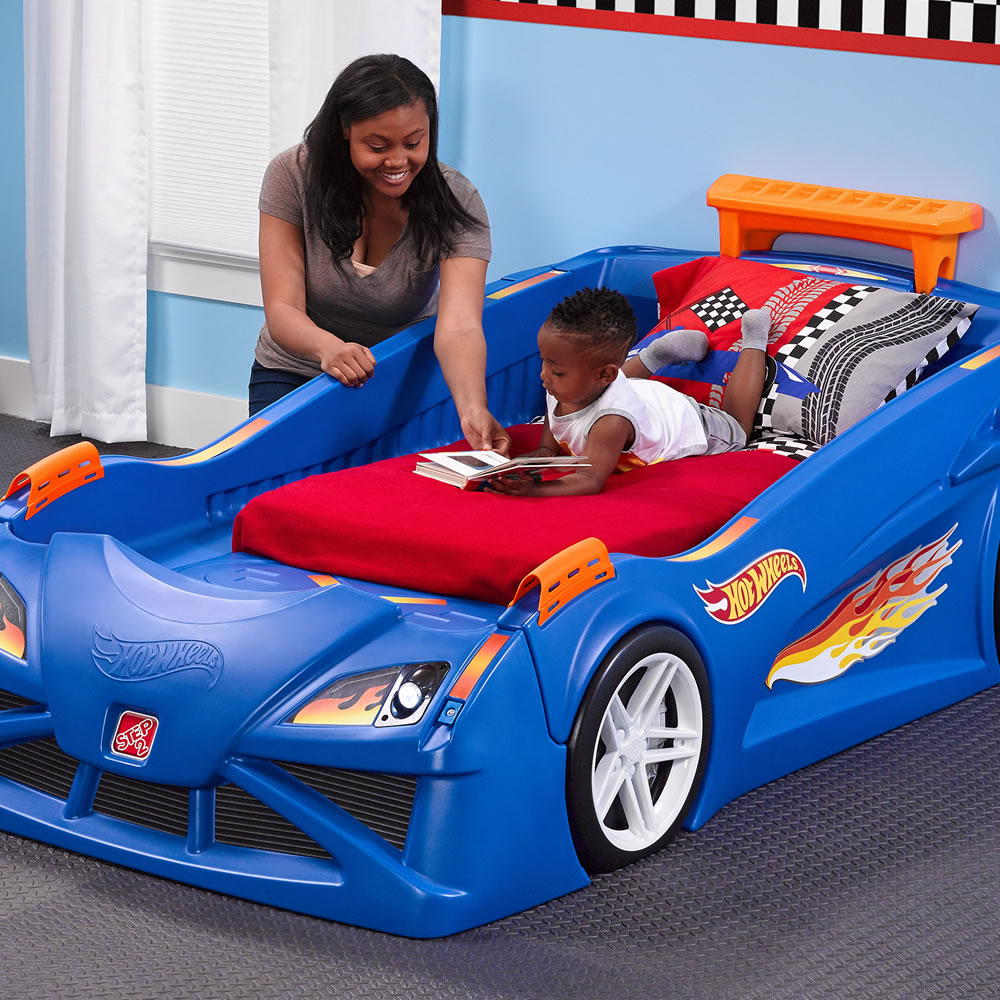 Blue car beds for kids - Hot Wheels Toddler To Twin Race Car Bed