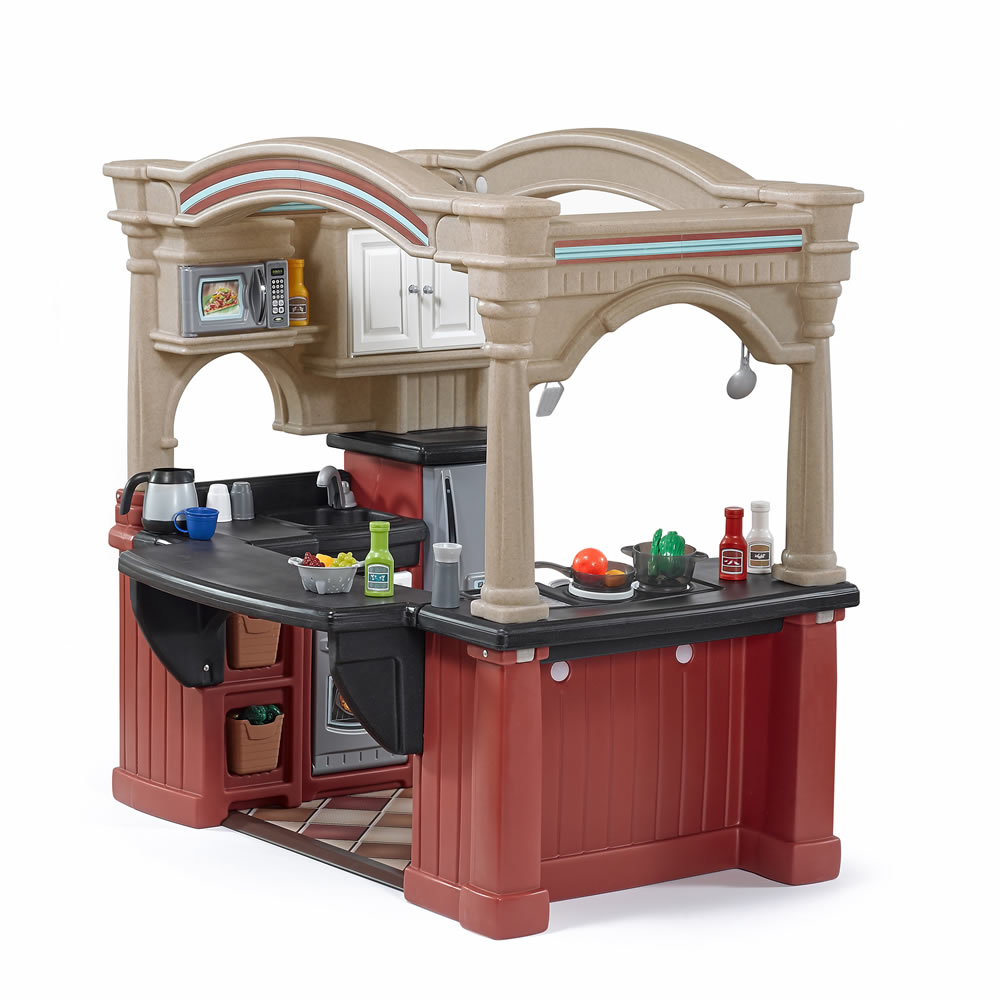 Grand walk in kitchen with extra play food set step2 for Kids kitchen set sale