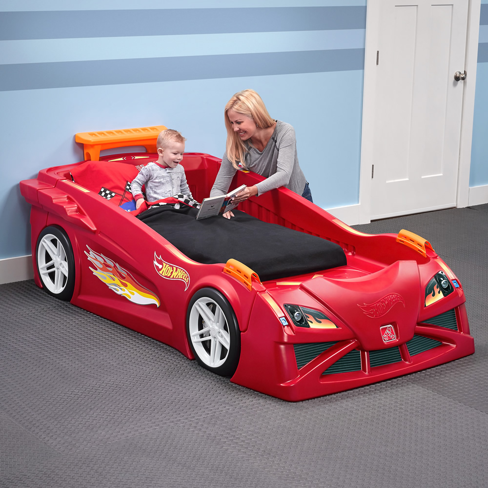 Uncategorized Bed Car hot wheels toddler to twin race car bed red kids step2 red