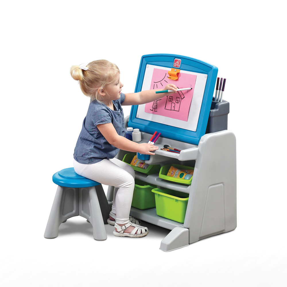 Groovy Flip Doodle Easel Desk With Stool Blue Gray Caraccident5 Cool Chair Designs And Ideas Caraccident5Info