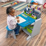 step2 Flip & Doodle Easel Desk with Stool™ -Blue & Grey