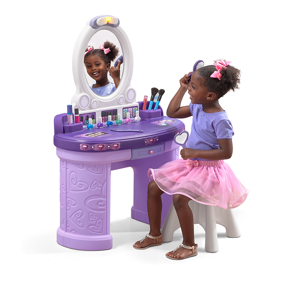 Pretty Posh Vanity With Stool Kids Pretend Play Step2
