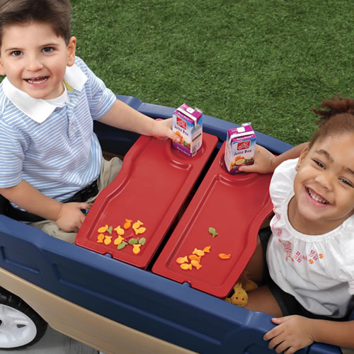 table surface for snack time in the wagon